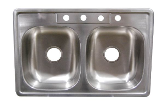 "33"" x 19"" Stainless Steel Sink - 6"" Deep"