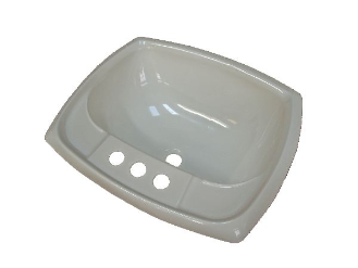 "17"" x 20"" White Plastic Rectangular Lavatory Sink"