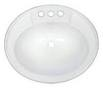 "17"" x 20"" White Plastic Oval Lavatory Sink"